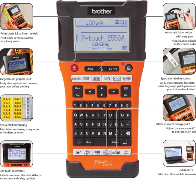 Brother P Touch Pt E550wvp E550wvp Industrial Handheld Wireless