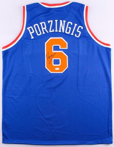 the latest 5a8d3 57ffb Kristaps Porzingis Signed Knicks Jersey