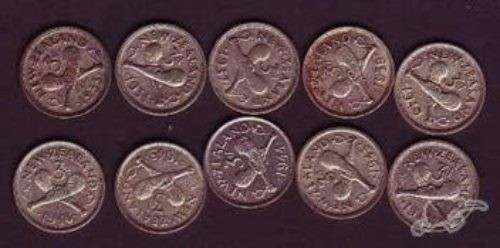 NZ  10 silver Threepence coins, 1933 to 1946