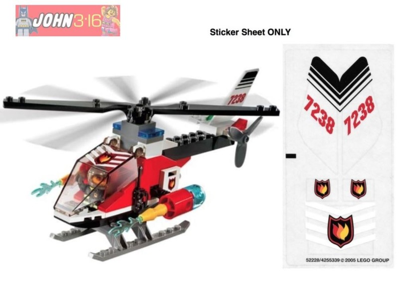 LEGO CITY STICKERS for set #7238 FIRE HELICOPTER   Trade Me