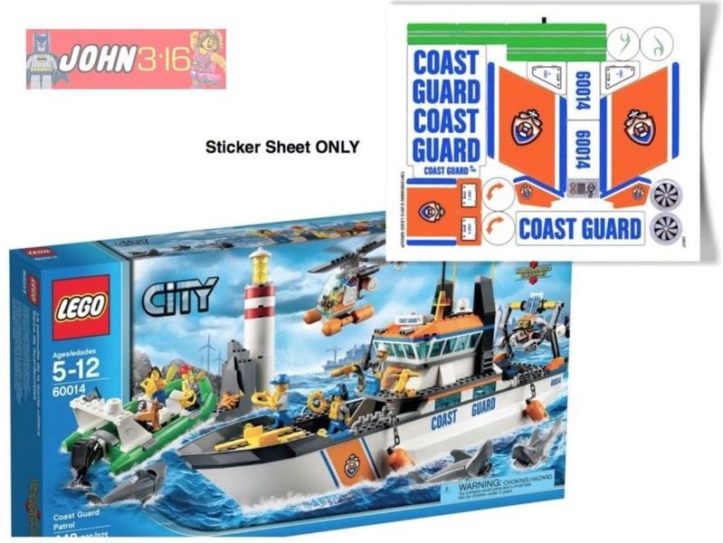 LEGO CITY ** STICKERS ** for set 60014 COAST GUARD PATROL   Trade Me