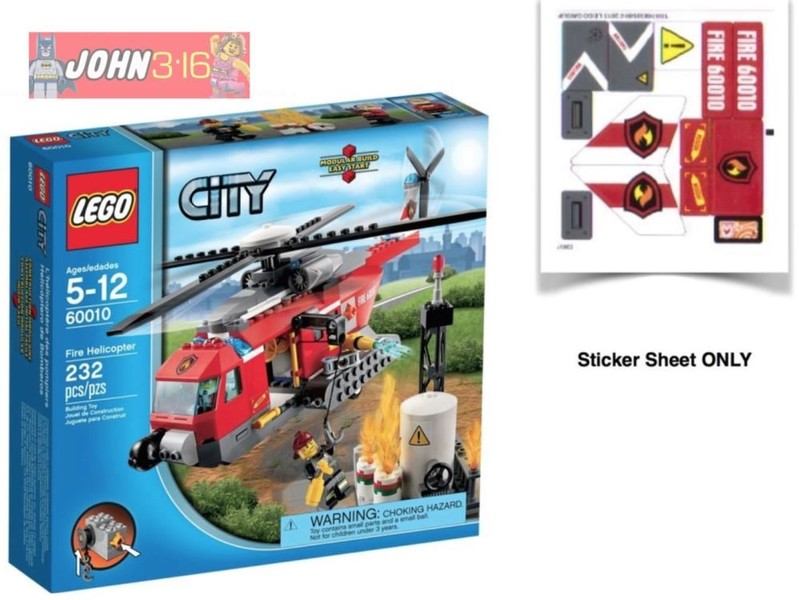 LEGO CITY ** STICKERS ** for set 60010 FIRE HELICOPTER   Trade Me