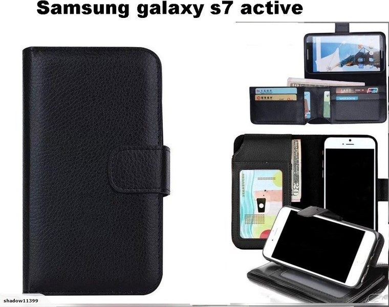 official photos 79249 c6ed1 Galaxy s7 active case leather wallet folded 7 cards ID black