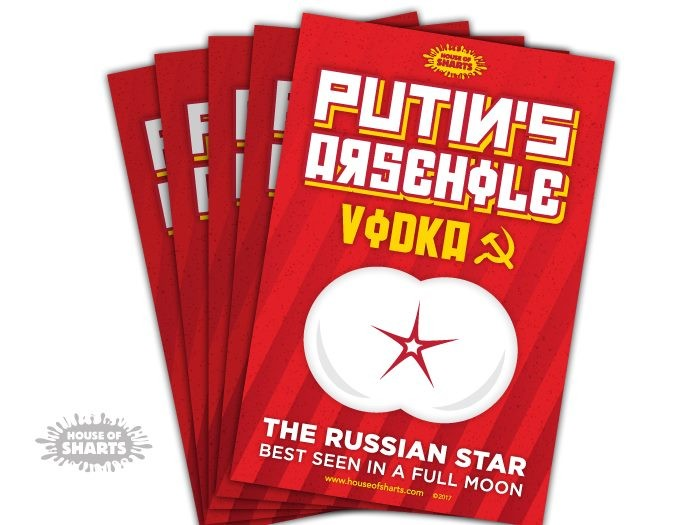 35a72ad36 Funny Vodka Label Stickers - Putins Arsehole Vodka (5 Pack) - House of  Sharts | Trade Me