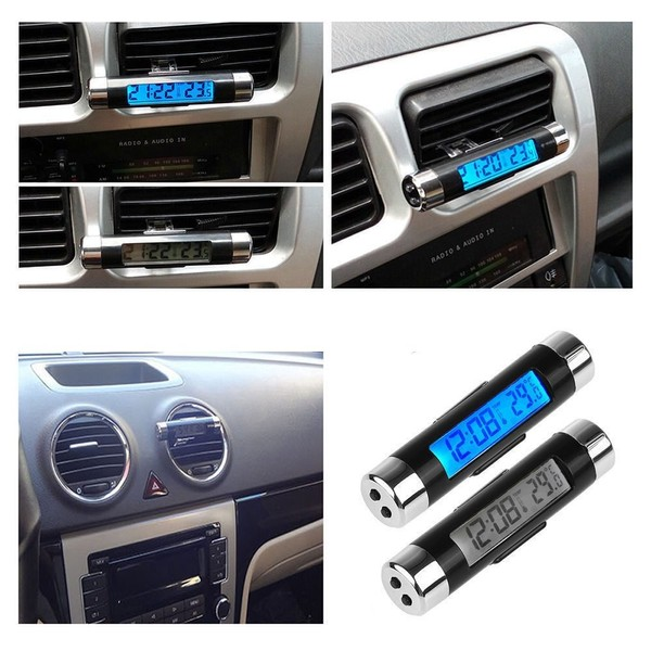 2in1 Digital Led Car Clock Thermometer Temperature Lcd Backlight
