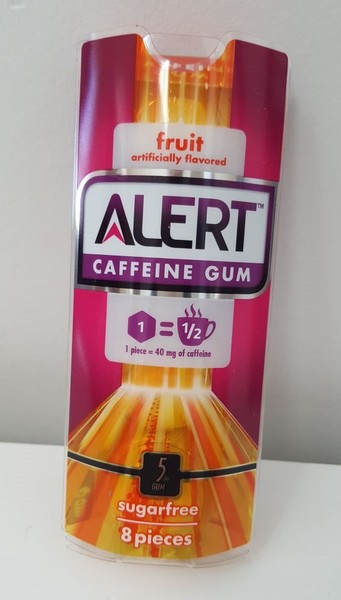 Alert caffeine gum fruit 8 piece- Dated