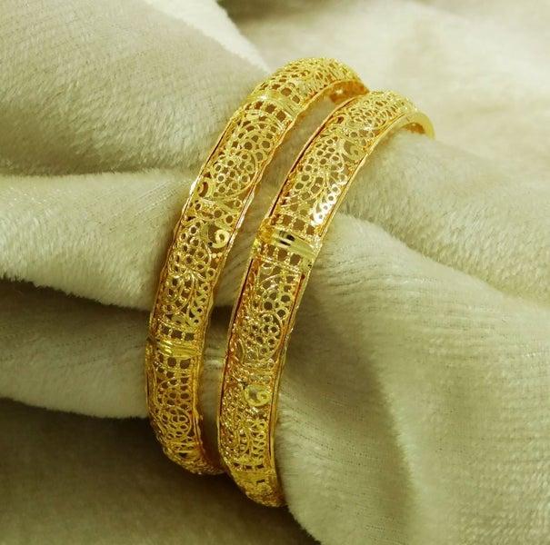 18K Goldplated Women Indian Bangles Designer Bracelets New Ethnic Jewelry  2*4
