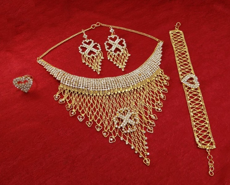 18k Goldplated Indian Ethnic Bollywood Indian 4pc Necklace Set Party Jewelry Jewelry & Watches