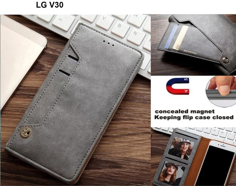 newest 2e451 99077 LG V30 slim leather wallet case 6 cards 2 ID magnet gry