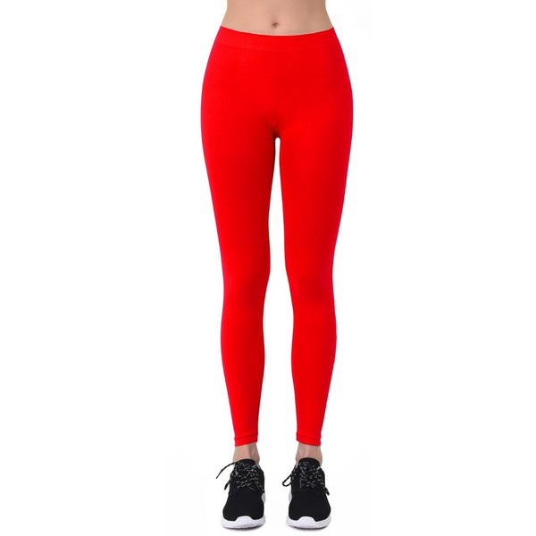 f9ea7284a6c Plus Sized Full Length Leggings Red One Size