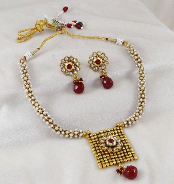Engagement & Wedding Delicious Indian Gold Tone Acrylic Stone Traditional 2pc Pendant Necklace Set Jewellery Latest Fashion