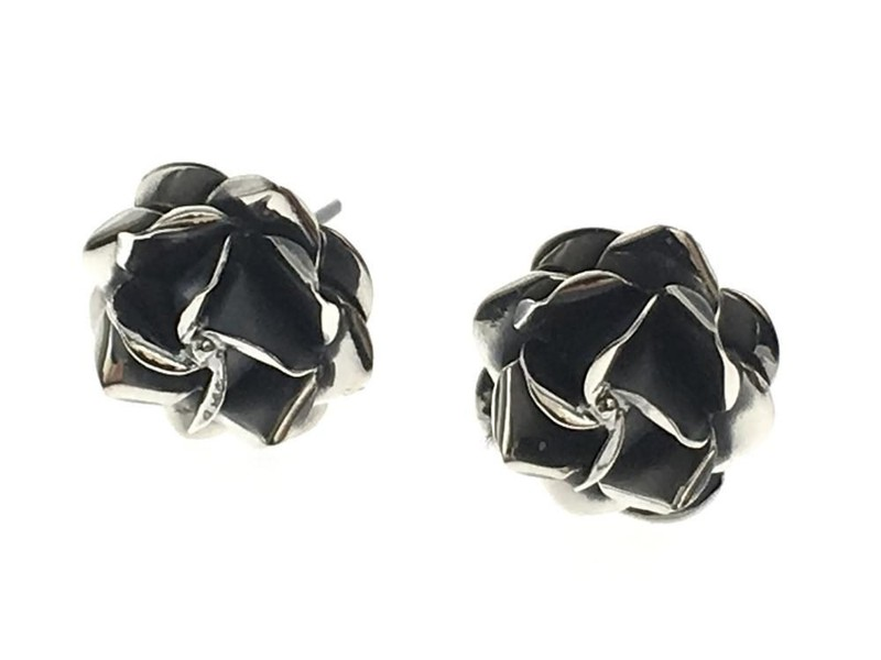 7800efb5a Rose Oxidised Sterling Silver Stud Earrings | Trade Me