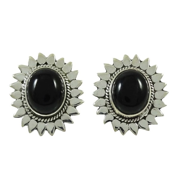 Black Onyx Stone Earring Set 925 Sterling Silver Indian Fashion Jewelry