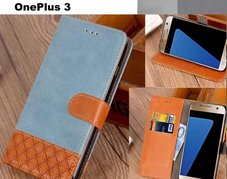 more photos 4c557 b8eec OnePlus 3 wallet case denim leather combined style blue | Trade Me