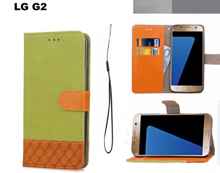 the best attitude b8ce4 2e017 LG G2 wallet case denim leather combined style green