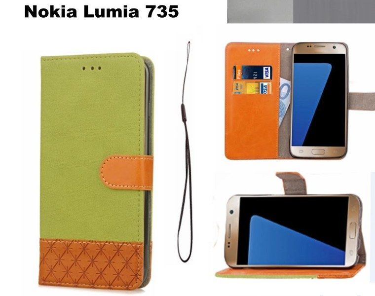 super popular 5a86b fe328 Nokia Lumia 735 wallet case denim leather combined style green