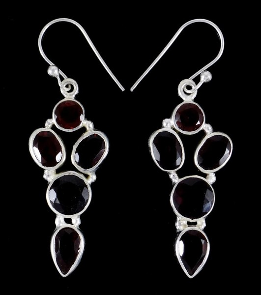 3894894b4ed14a 925 Sterling Silver Indian Designer GARNET Stone Dangle Earring Set Jewelry  | Trade Me
