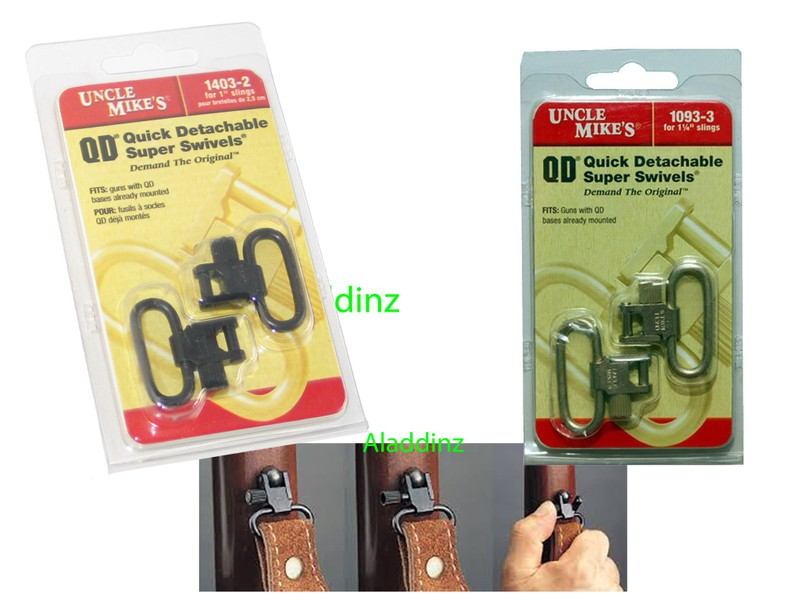 """Uncle Mikes 1403-2 QD Quick Detachable Super Swivels for 1/"""" Slings Sling"""
