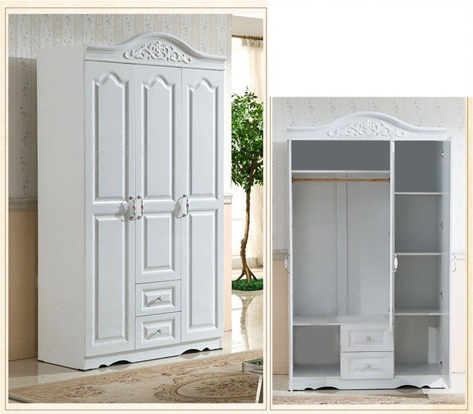 Super Deal Good Quality French Style 3 Door Wardrobe White Brand