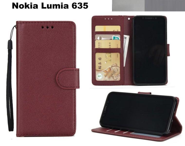 on sale 7d09d 8bb64 Nokia Lumia 635 premium PU leather wallet case w 3 card slots & pocket wine