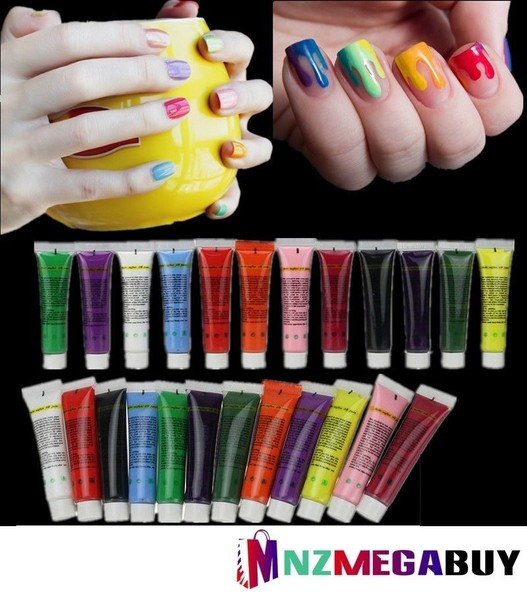 12pcs Col Acrylic Paint 3d Nail Art Painting Tips Trade Me