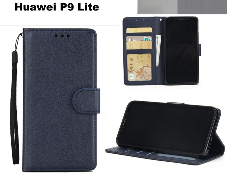 hot sale online 5c54b be43a Huawei p9 lite case premium PU leather wallet w 3 card slots & pocket nvy