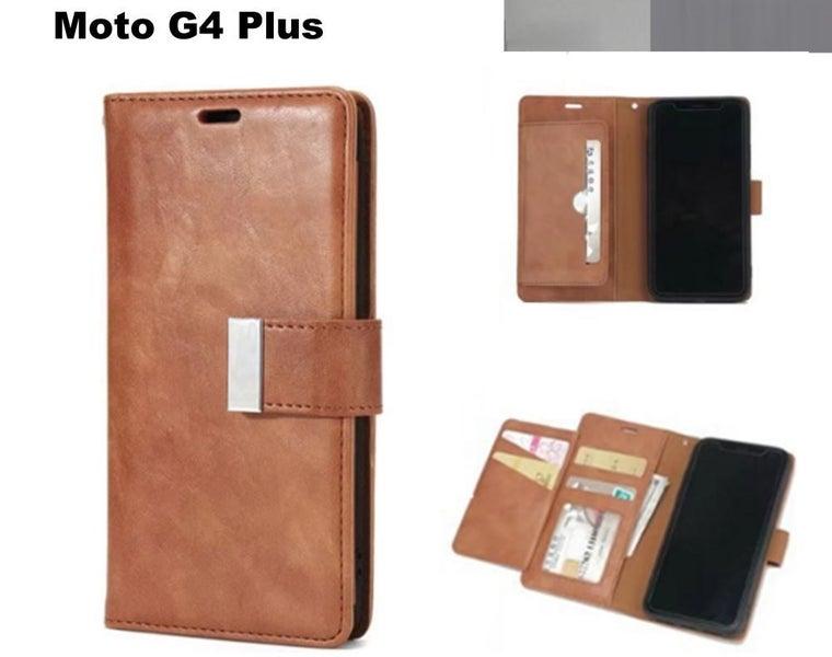cheap for discount c0ef7 07851 Moto G4 Plus retro multi card wallet case slim cow hide finish brn