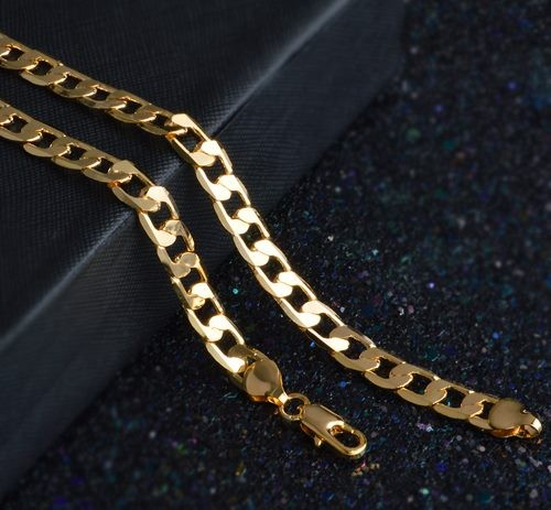 a7b57eddd56be AWESOME MENS CURB CHAIN NECKLACE/ 18KGP GOLD