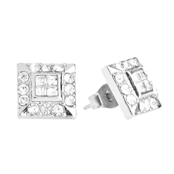 Iced Out Bling Earrings Box - HOT SQUARE silver  9100aec3e5f