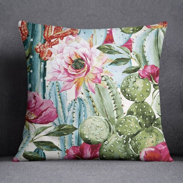 Pleasant S4Sassy Decorative Cactus Floral Printed Indian Sofa Square Cushion Cover Ncnpc Chair Design For Home Ncnpcorg