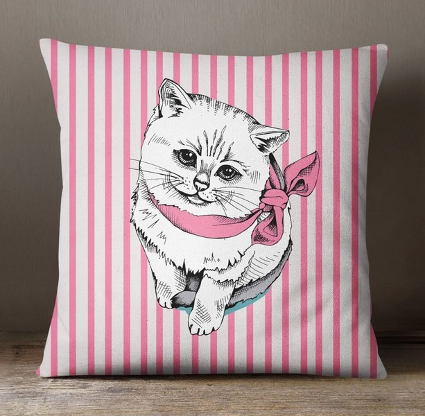 S 4 Sassy Pink Decorative Dog Print Home Decor Cushion Case Square Pillow Cover