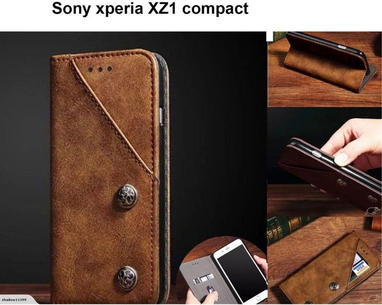 newest 2de69 83782 Sony XZ1 compact ultra slim retro leather wallet case 2 cards magnet brown
