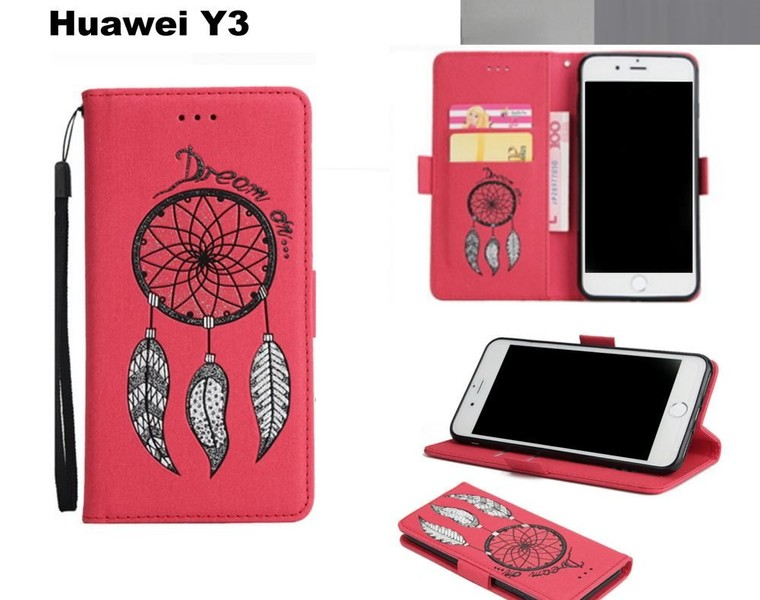 100% authentic 0f586 ea8aa Huawei Y3 case luxury glitter leather 3D dreamcatcher magnet red