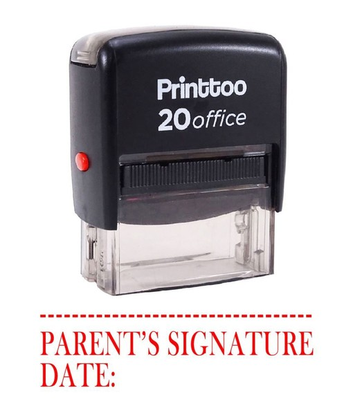 Printtoo Self Inking Rubber Stamp PARENTS SIGNATURE WITH DATE Office