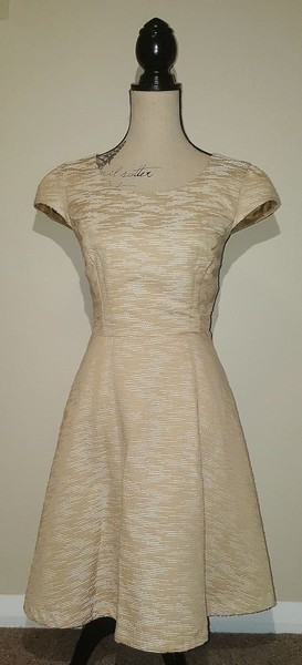 3c14a5728335 Karen Walker Hi There Desert Skater Dress Beige White Size 12 14 ...