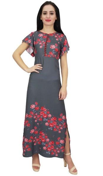 5b2073bbe661 Bimba Women Butterfly Sleeve Maxi Dress Floral Printed Georgette Summer Wear-24