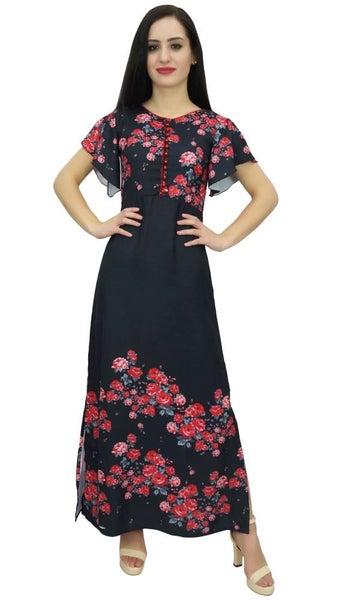 Bimba Women s Butterfly Sleeve Black Floral Maxi Dress Georgette ... 2a16f363ba