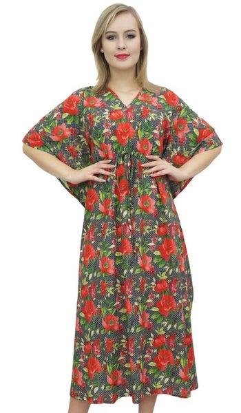 f3c6be924f5 Bimba Women s Maxi Floral Long Kaftan Dark Gray Caftan Dress Cotton ...