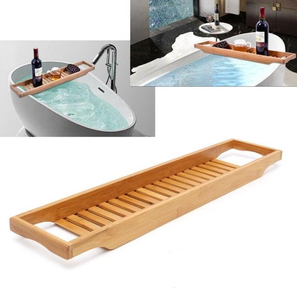 Bathroom Bamboo Bath Shelf Caddy Wine Holder Tub Tray Over Bathtub ...