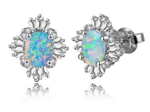 b612e2438 Beautiful Oval White Opal & CZ Diamonds Cluster Stud Earrings/ 18KGP ...