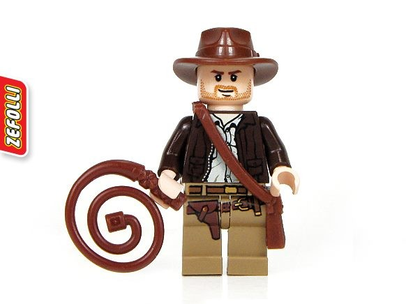 Freepost! Indy Minifig with Side Bag and Whip - Indiana Jones Lego