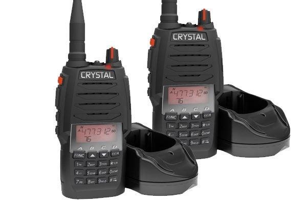 CRYSTAL DBH50RKT 80-CHANNEL 5 WATT UHF CB HANDHELD 2-WAY RADIO PAIR + CARRY  CASE