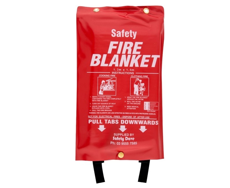 Safety Dave Fire Blanket 1 2m x 1 8m in Red White Safety Fire Blanket