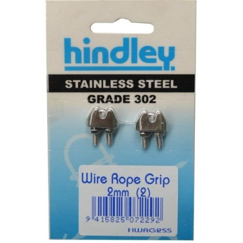 Stainless Wire Rope Grip 2mm 2 Per Card
