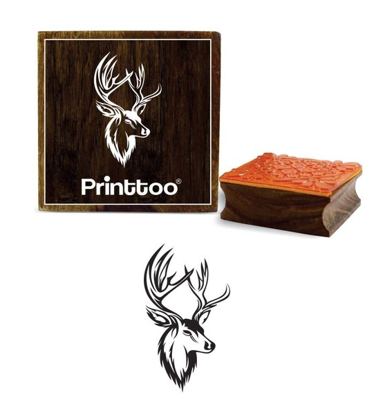 Wooden Rubber Stamp Swamp Deer Face Scrap Booking Square Stamps 4 X Inches