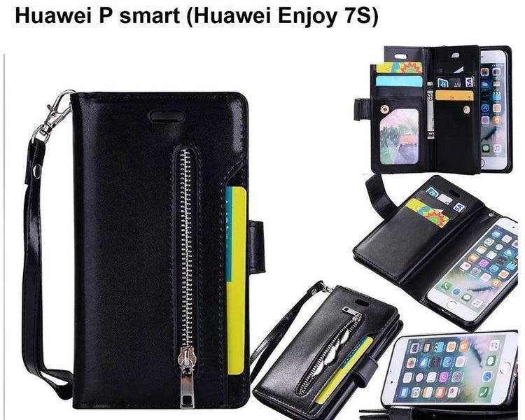 best website 3d815 594be Huawei P smart leather wallet case zip 10cards gel inner lanyard black
