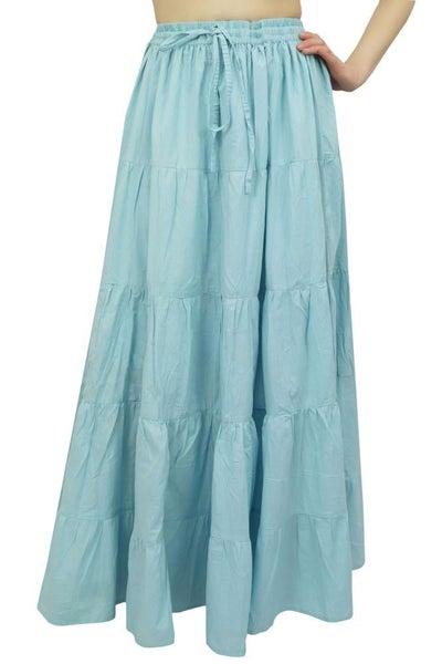 7e304ce1f Bimba Women's Long Cotton Skirt Blue Boho Style Maxi Elastic Waist ...