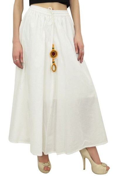 db257de1a Bimba Women's White Bohemian Style Elastic Waist Cotton Skirt With ...