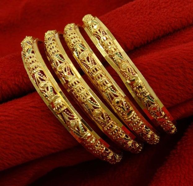 Indian Ethnic Traditional Goldplated Designer Kada Bangle Set