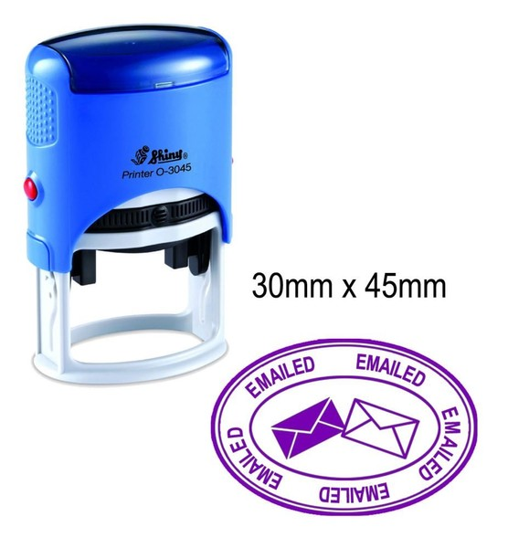 EMAILED Self Inking Non Personalized Shiny Oval Rubber Stamp 30mm X 45mm